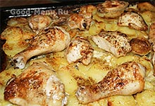 Запеченная курица с картошкой в сметане