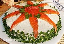 Блинный торт украшаем семгой