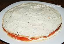 Блинный торт с семгой - зеленый сыр