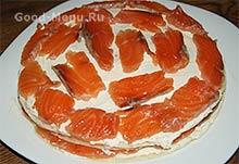 Блинный торт с семгой - слой семги