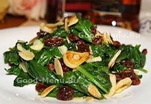 Постный салат со шпинатом