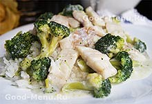 Постные блюда - рис с брокколи и рыбой