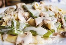 Стручковая фасоль с грибами - постное блюдо