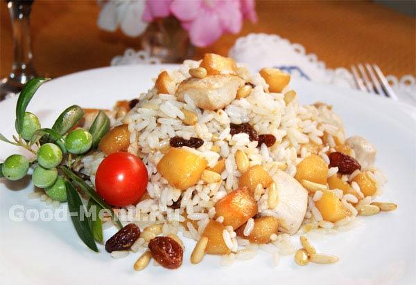 Рис с курицей и яблоками - рецепт с фото от