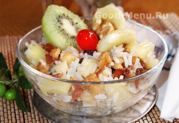 Салат с рисом и экзотическими фруктами - рецепт с фото от