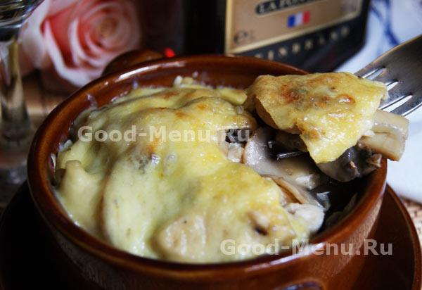 162Жульен с грибами картошкой и мясом рецепт