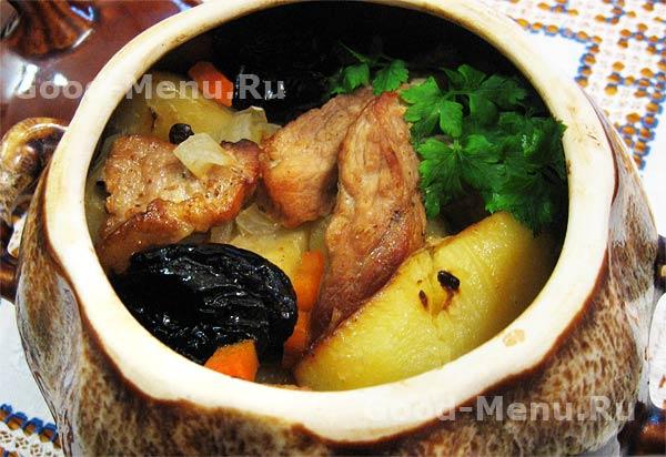 жаркое из свинины в горшочке с картошкой рецепт с фото