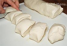 Хинкали - делим тесто на части
