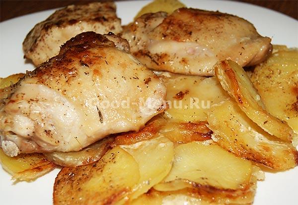 курица с картошкой в духовке на протвине рецепт