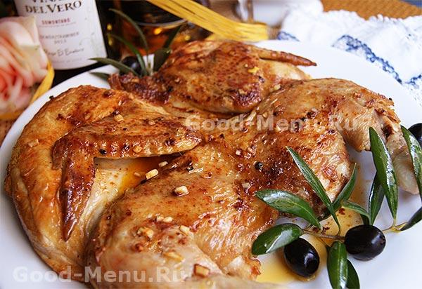 Рецепт цыпленка табака в духовке пошагово с картофелем