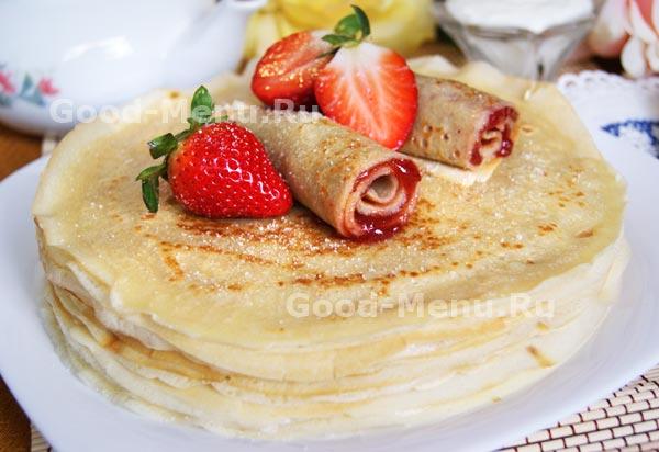 рецепт тонких блинов на молоке и яйцах