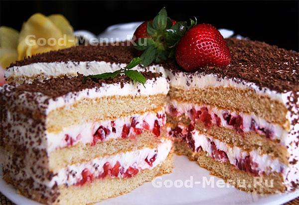 Бисквитный торт с клубникой рецепт фото