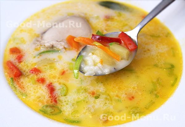сырный суп с курицей без риса рецепт с фото