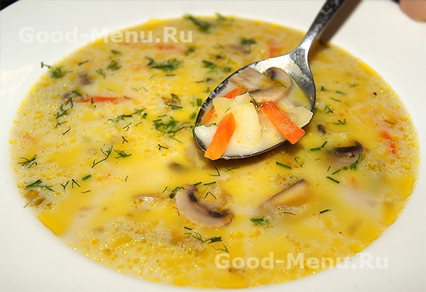 рецепт сырный суп с грибами и курицей