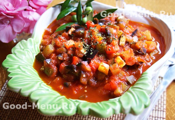 овощное рагу с баклажанами и кабачками и картошкой рецепт с фото пошагово