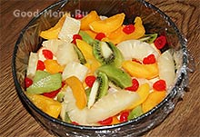 Торт Битое стекло - кладем фрукты