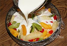 Торт Битое стекло - желатиновую массу выливаем в форму
