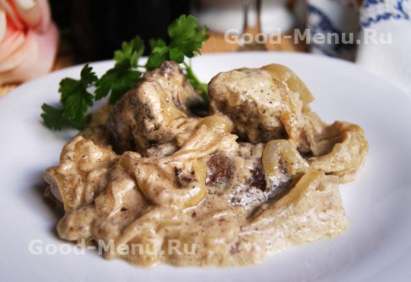 Печенка с луком и сметаной рецепт — photo 8