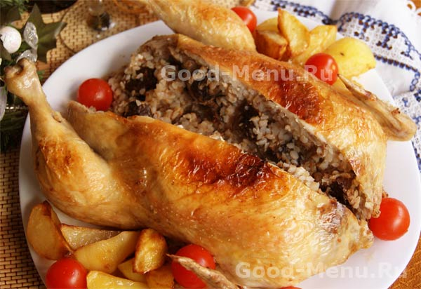 Фаршированная курица рецепт в духовке пошаговой
