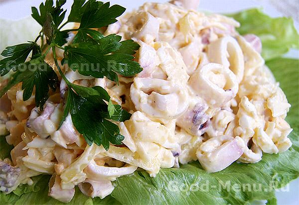 Простой салат с кальмарами рецепты без майонеза с фото простые #1